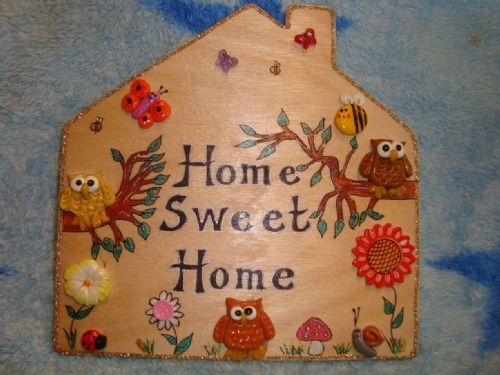 Owl Personalised House Bedroom Wendyhouse Playhouse Garden Sign  Any Phrasing Wooden Plaque Home Sweet Home 6 x 6 inches